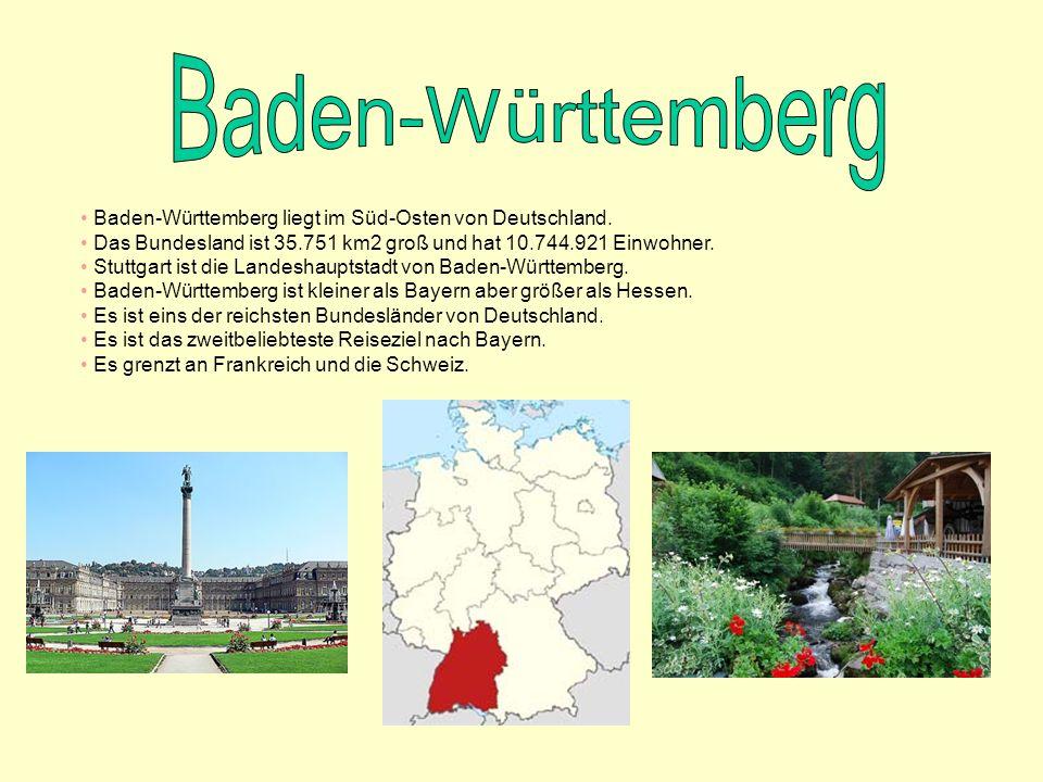 Baden-Württemberg Baden-Württemberg liegt im Süd-Osten von Deutschland. Das Bundesland ist 35.751 km2 groß und hat 10.744.921 Einwohner.