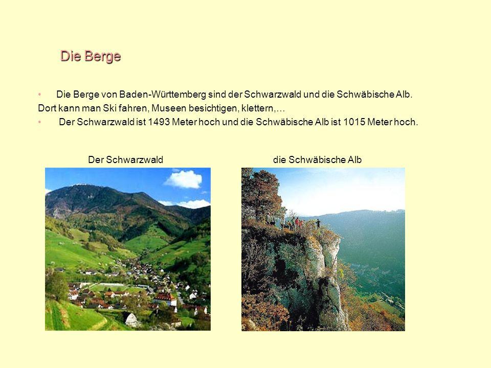 Die Berge Die Berge von Baden-Württemberg sind der Schwarzwald und die Schwäbische Alb. Dort kann man Ski fahren, Museen besichtigen, klettern,…