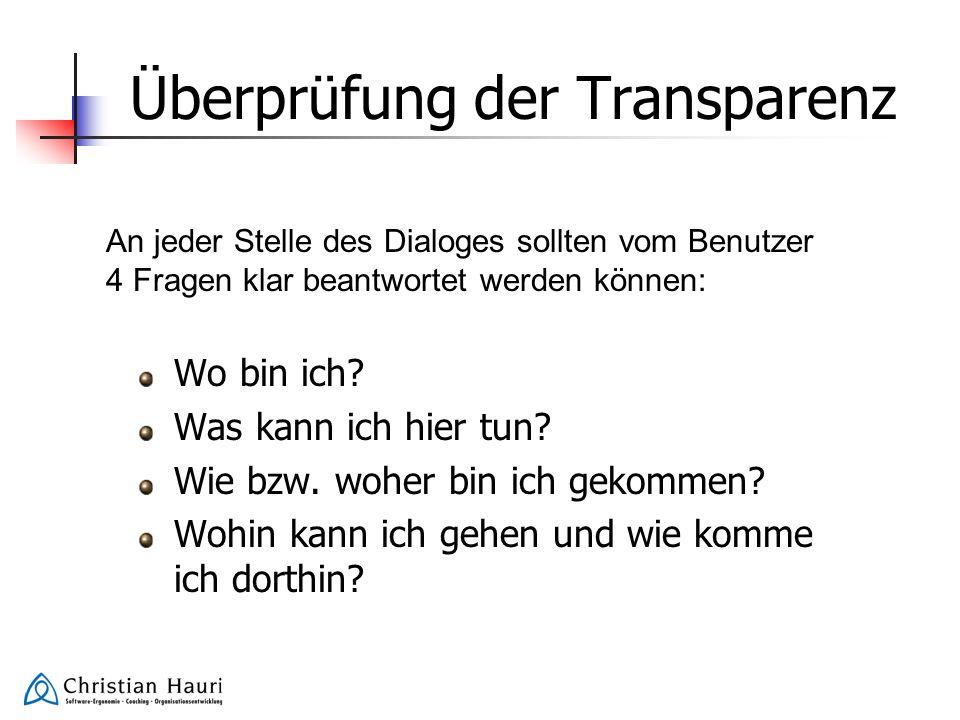 Überprüfung der Transparenz