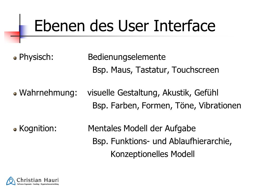 Ebenen des User Interface
