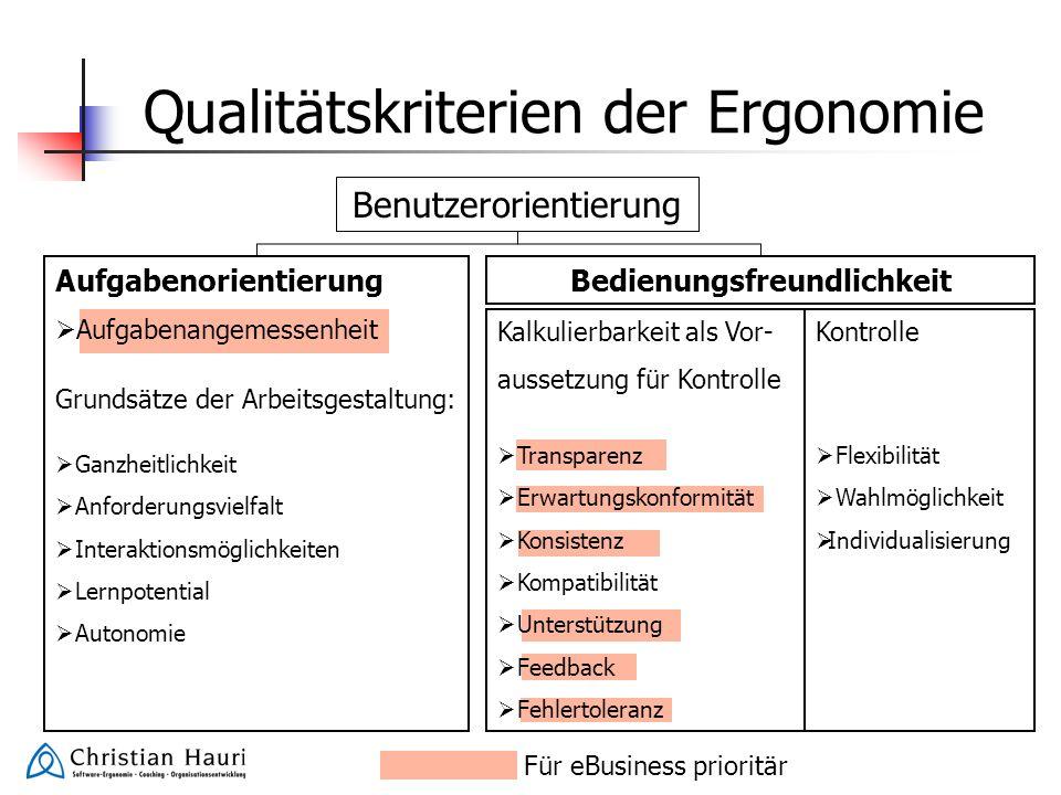 Qualitätskriterien der Ergonomie