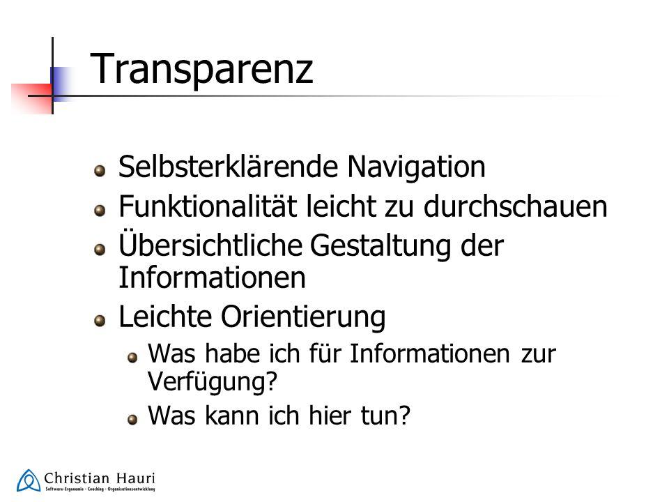 Transparenz Selbsterklärende Navigation
