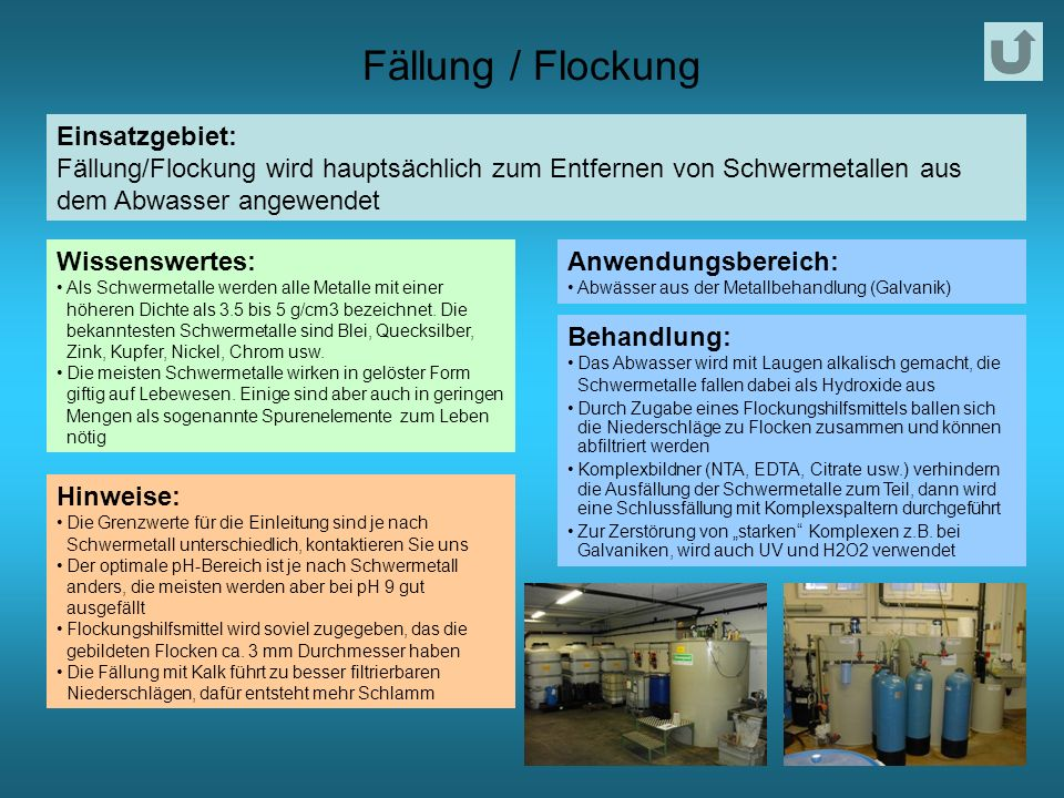 Fällung / Flockung Einsatzgebiet:
