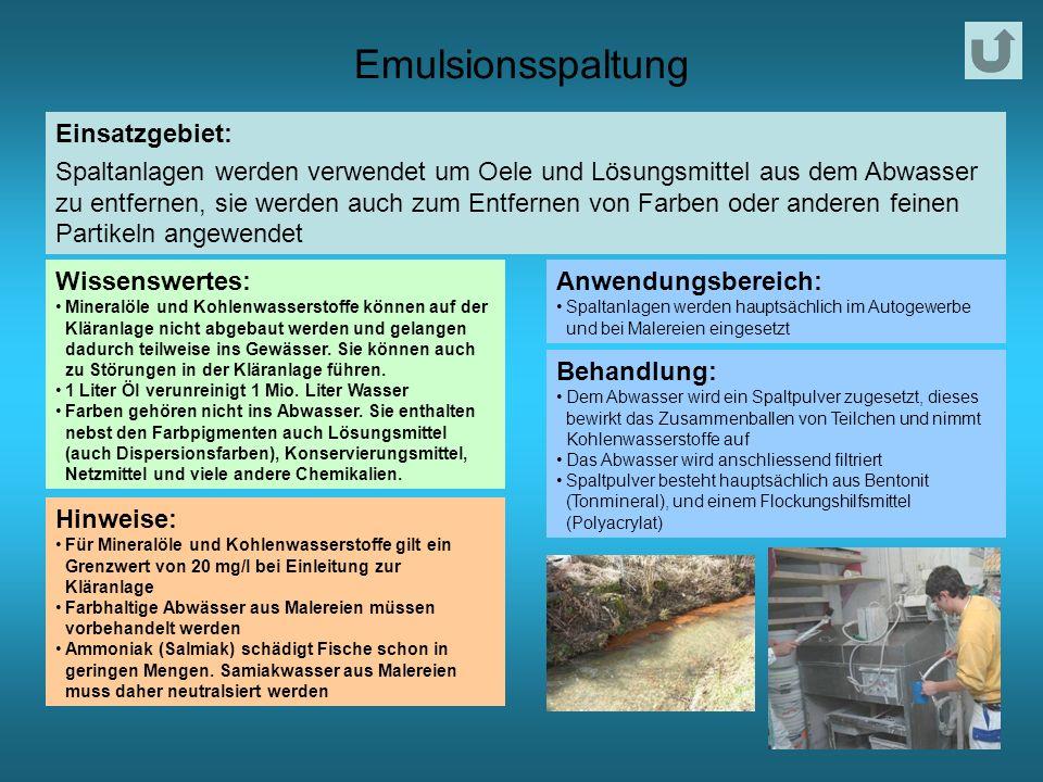 Emulsionsspaltung Einsatzgebiet: