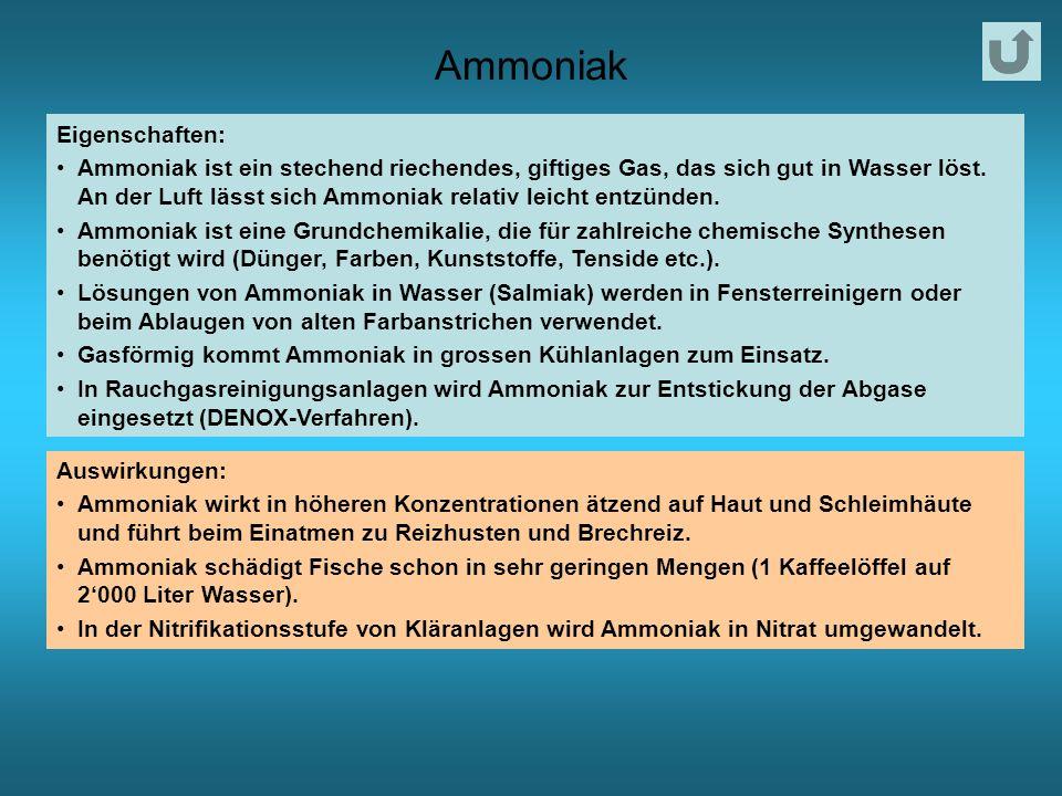 Ammoniak Eigenschaften: