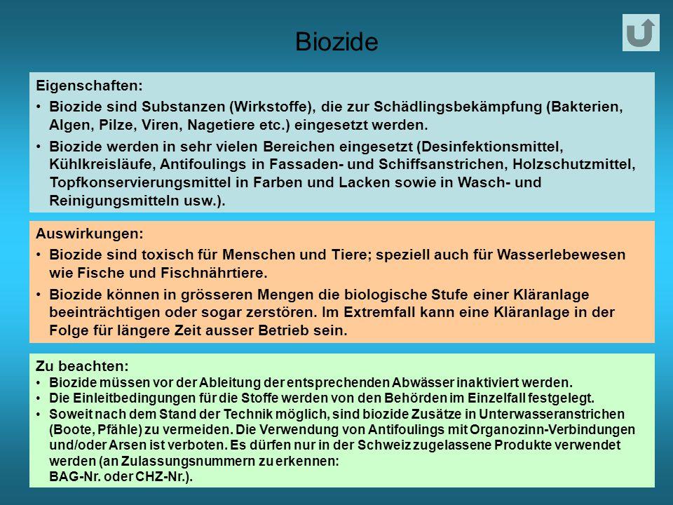 Biozide Eigenschaften: