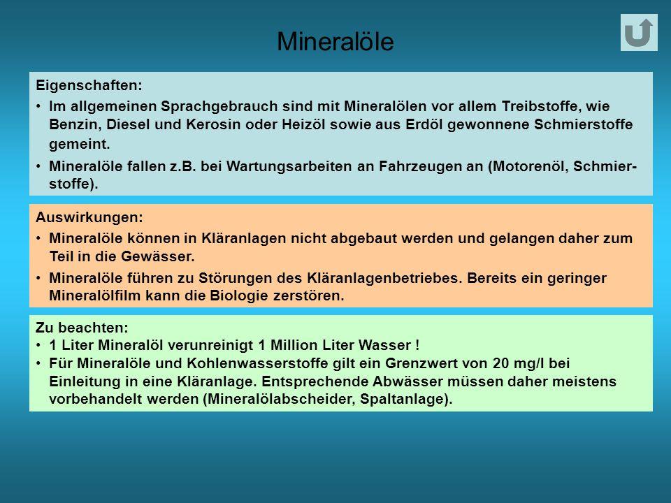 Mineralöle Eigenschaften: