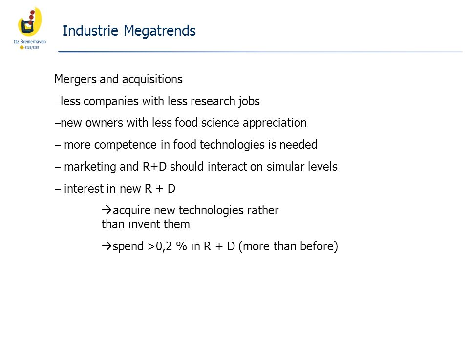 Industrie Megatrends Mergers and acquisitions