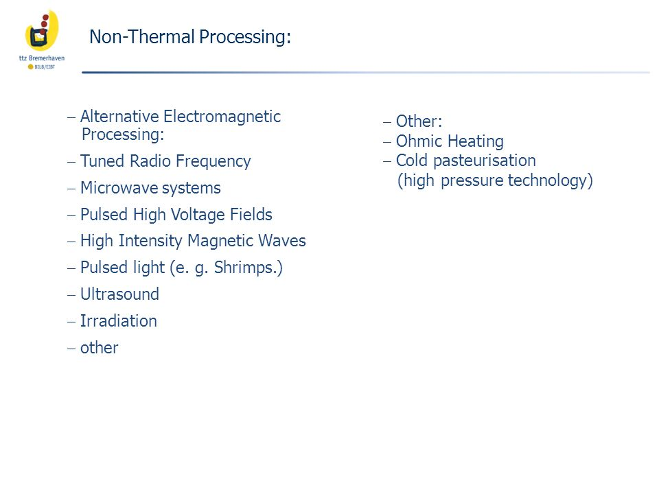 Non-Thermal Processing: