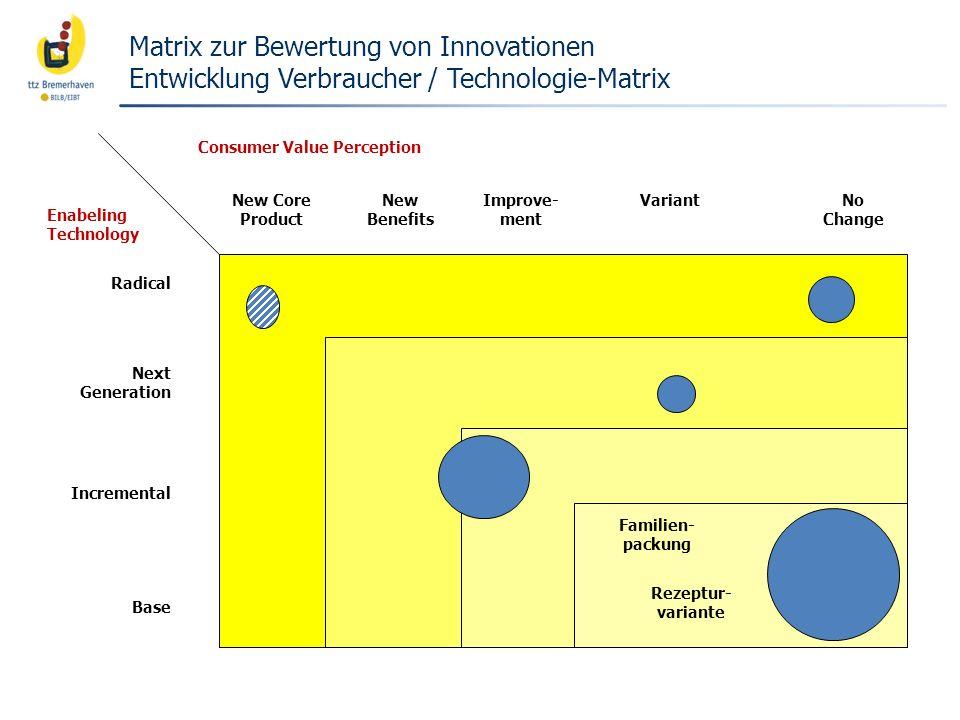 Matrix zur Bewertung von Innovationen Entwicklung Verbraucher / Technologie-Matrix