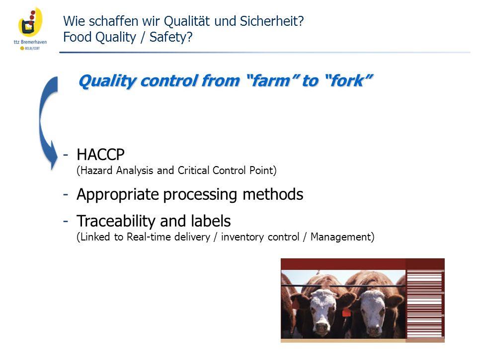 Wie schaffen wir Qualität und Sicherheit Food Quality / Safety