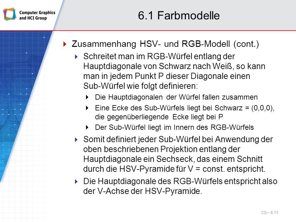 6.1 Farbmodelle Zusammenhang HSV- und RGB-Modell (cont.)