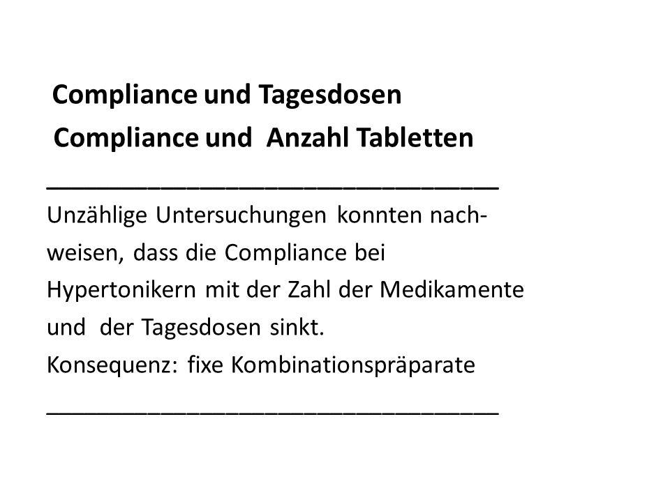 Compliance und Anzahl Tabletten