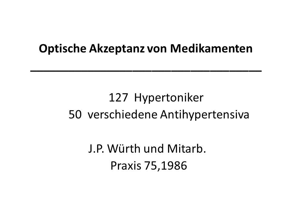 Optische Akzeptanz von Medikamenten ____________________________________ 127 Hypertoniker 50 verschiedene Antihypertensiva J.P.