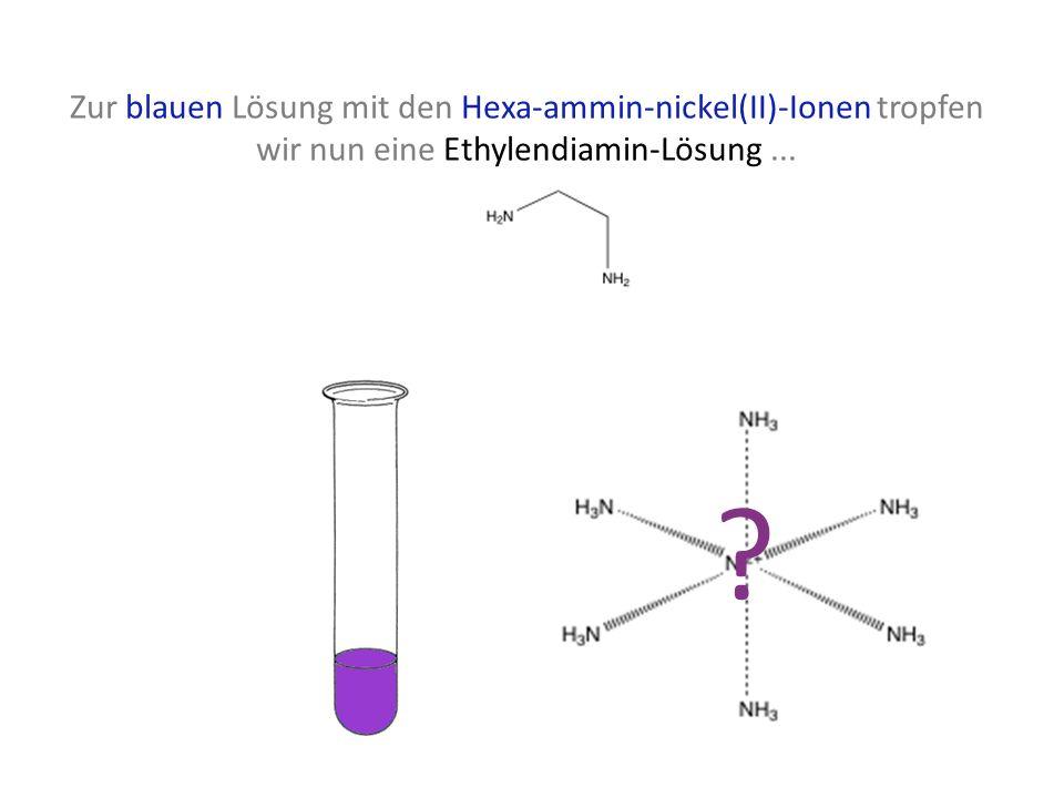 Zur blauen Lösung mit den Hexa-ammin-nickel(II)-Ionen tropfen wir nun eine Ethylendiamin-Lösung ...