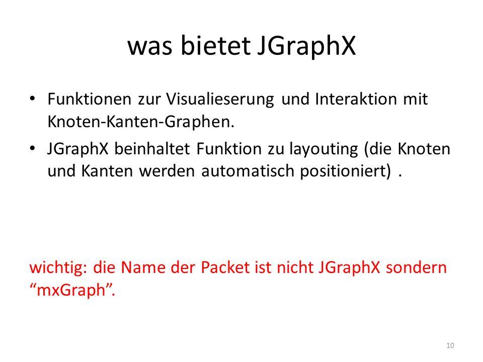 was bietet JGraphX Funktionen zur Visualieserung und Interaktion mit Knoten-Kanten-Graphen.