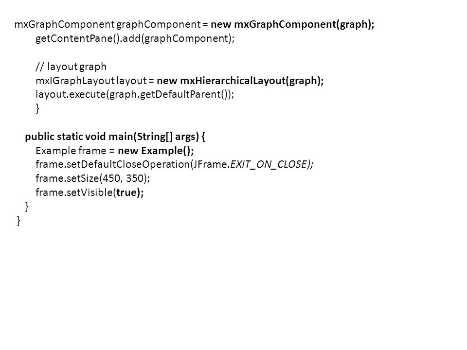 mxGraphComponent graphComponent = new mxGraphComponent(graph);