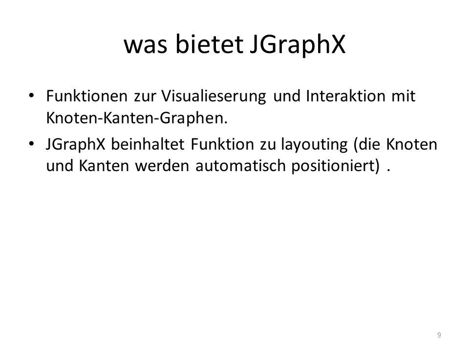 was bietet JGraphXFunktionen zur Visualieserung und Interaktion mit Knoten-Kanten-Graphen.