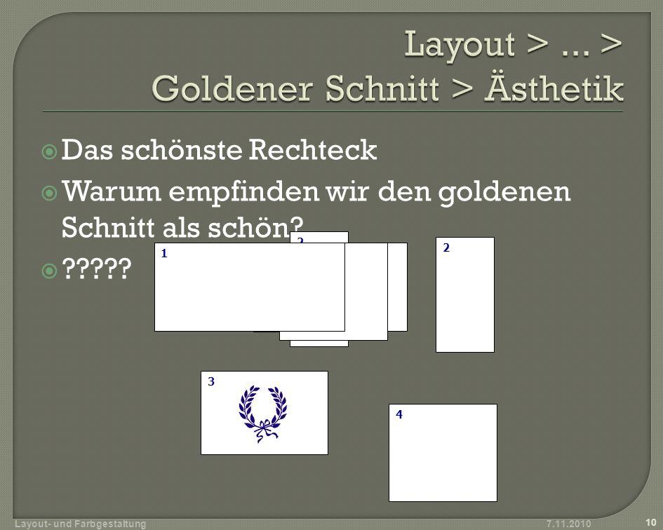 Layout > ... > Goldener Schnitt > Ästhetik