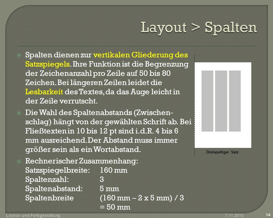 Layout > Spalten