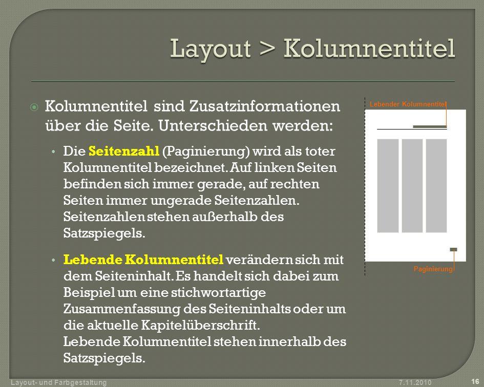 Layout > Kolumnentitel