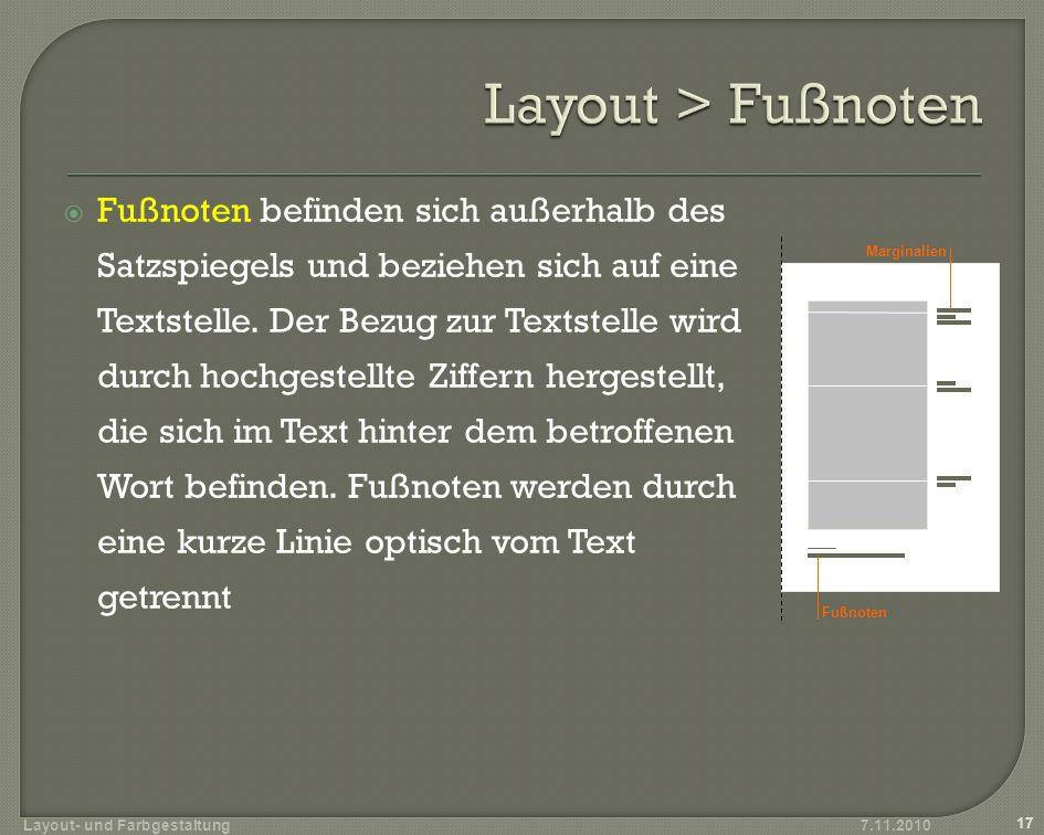 Layout > Fußnoten