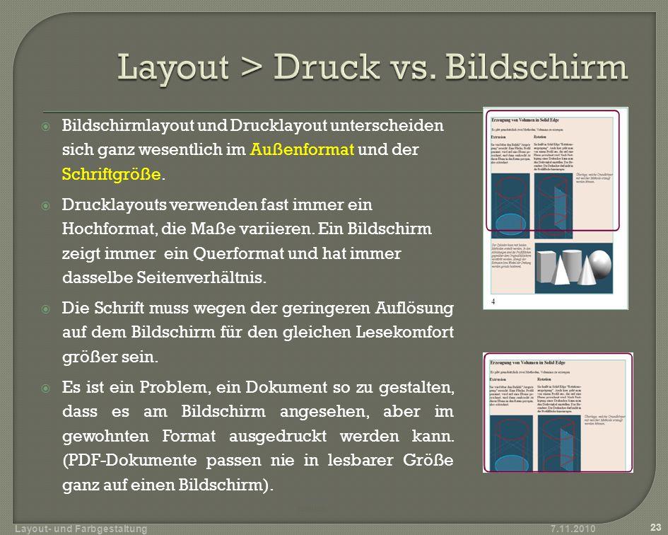 Layout > Druck vs. Bildschirm