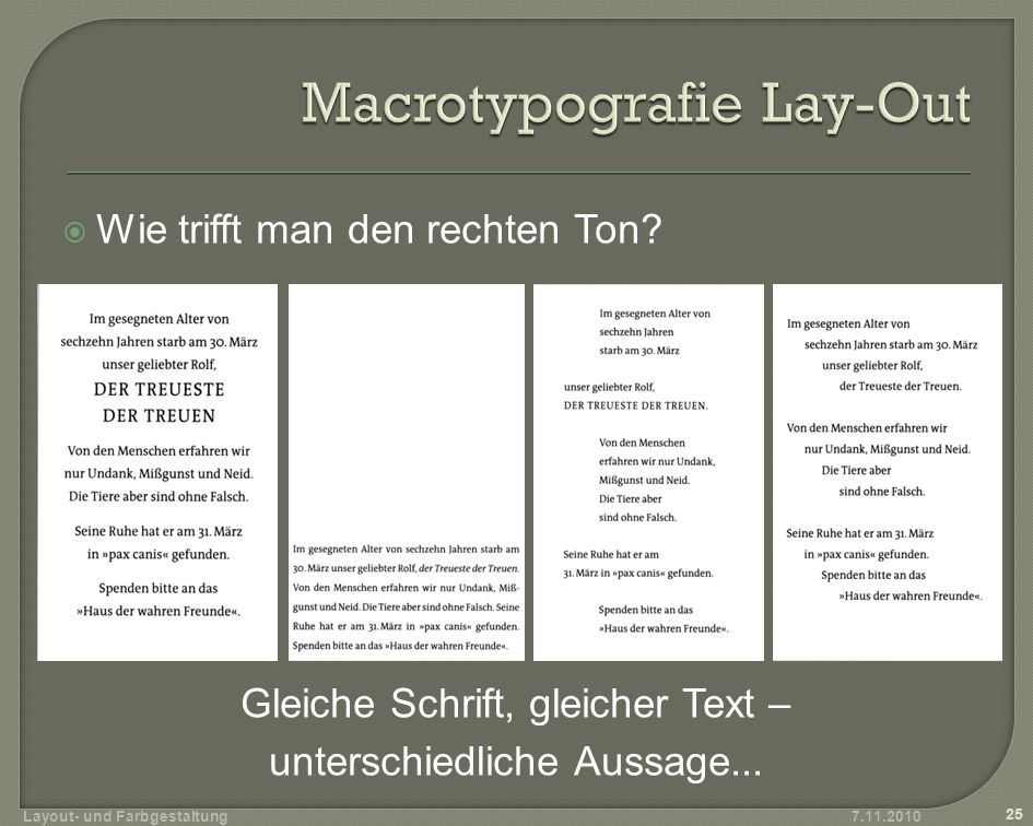 Macrotypografie Lay-Out