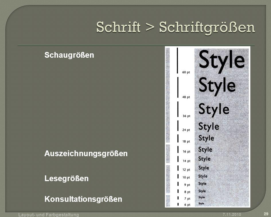 Schrift > Schriftgrößen