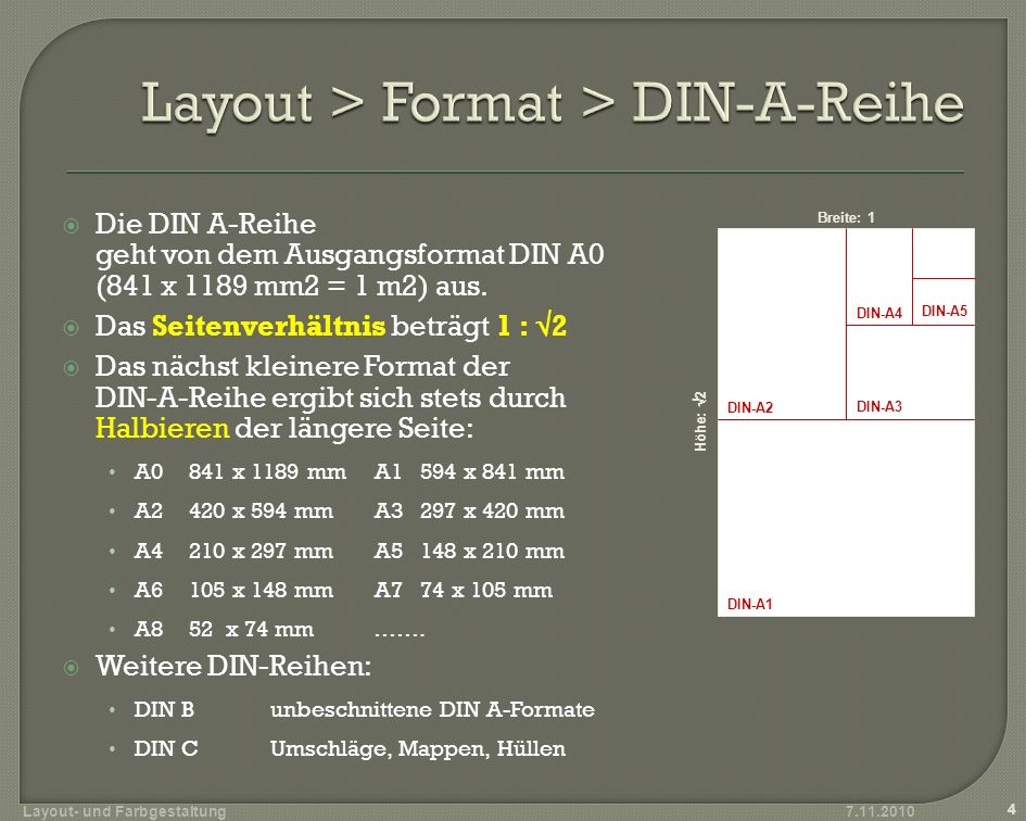 Layout > Format > DIN-A-Reihe