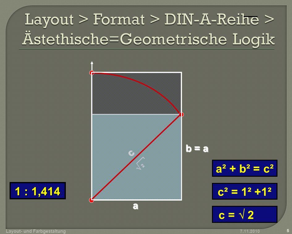 Layout > Format > DIN-A-Reihe > Ästethische=Geometrische Logik