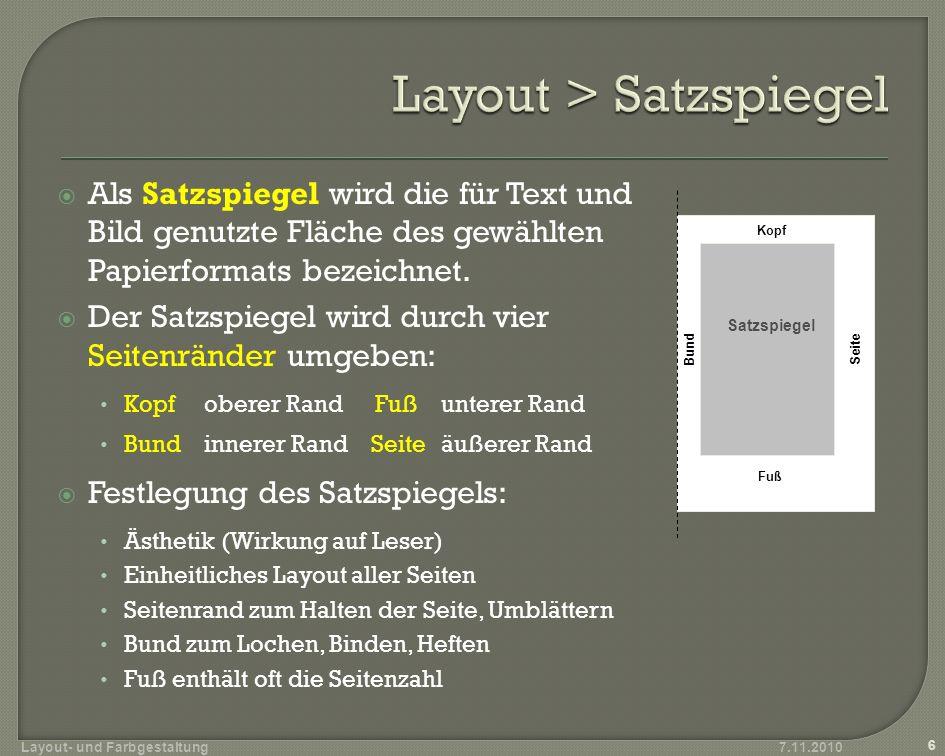 Layout > Satzspiegel