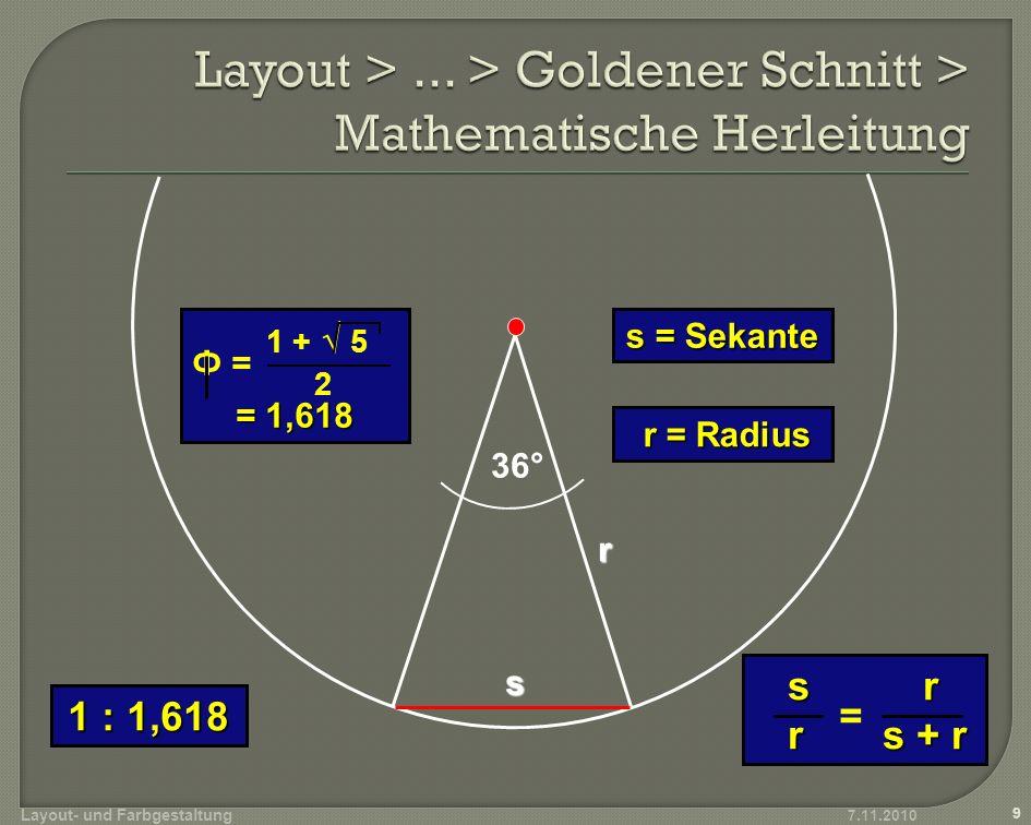 Layout > ... > Goldener Schnitt > Mathematische Herleitung