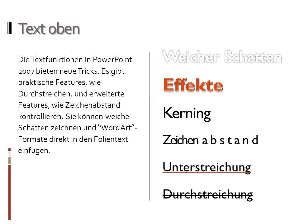 Effekte Text oben Weicher Schatten Kerning Zeichen abstand