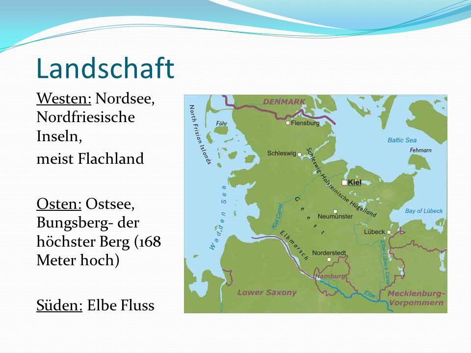 Landschaft Westen: Nordsee, Nordfriesische Inseln, meist Flachland