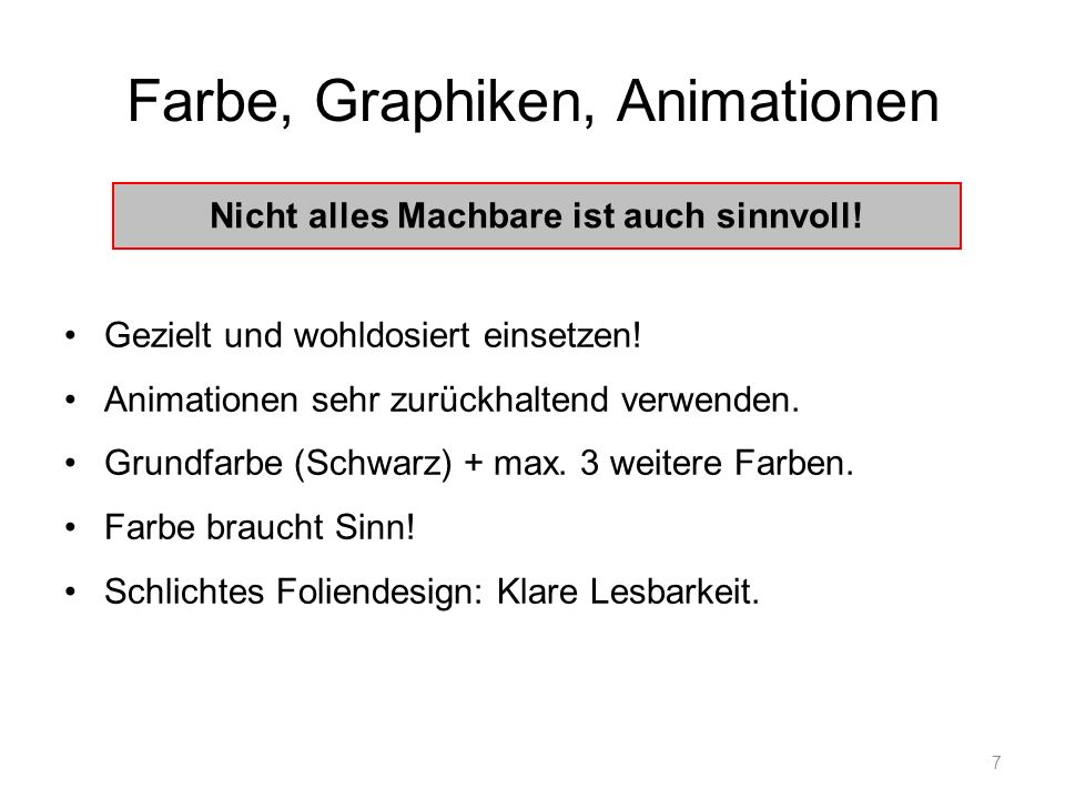 Farbe, Graphiken, Animationen