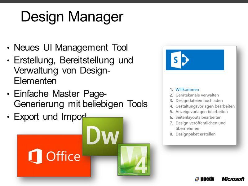 Design Manager Neues UI Management Tool