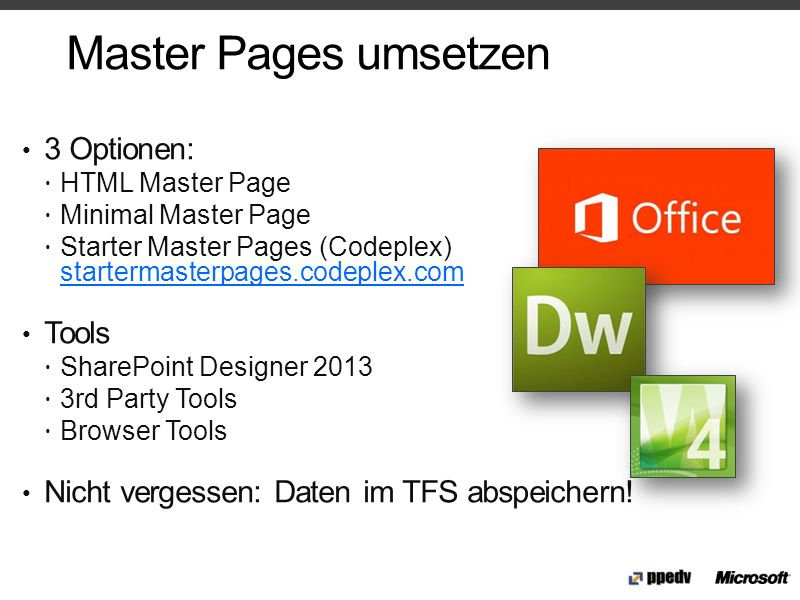 Master Pages umsetzen 3 Optionen: Tools