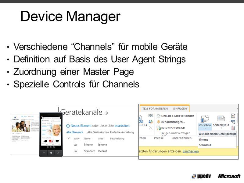 Device Manager Verschiedene Channels für mobile Geräte