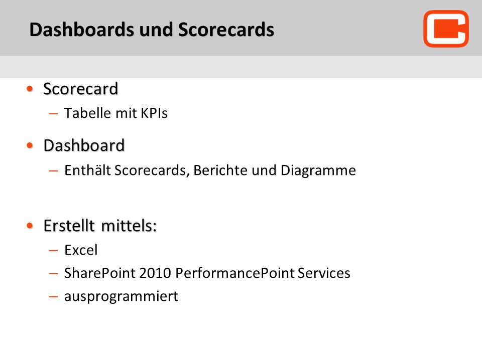 Dashboards und Scorecards