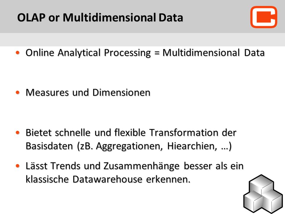 OLAP or Multidimensional Data