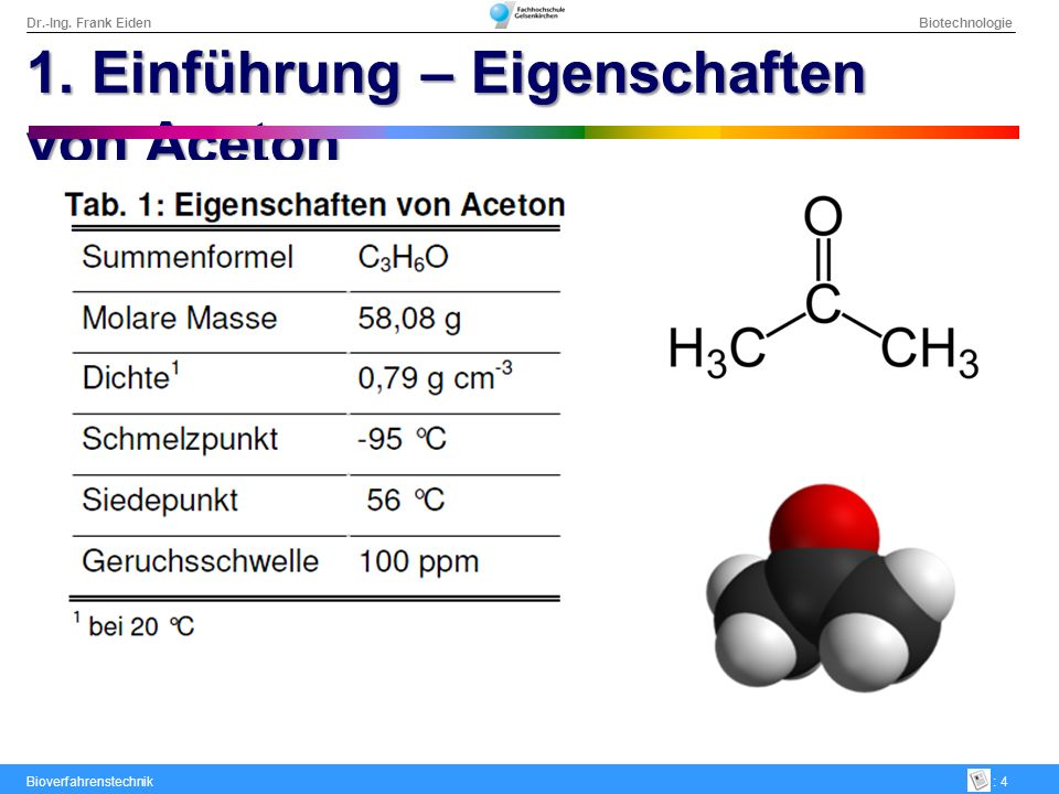 1. Einführung – Eigenschaften von Aceton