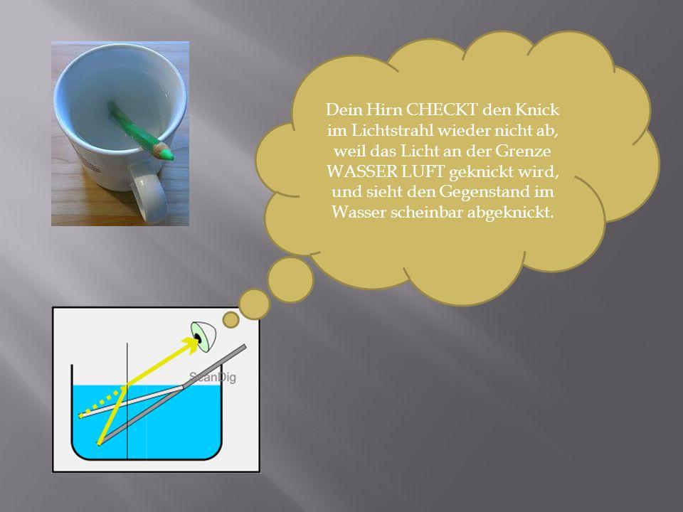 Dein Hirn CHECKT den Knick im Lichtstrahl wieder nicht ab, weil das Licht an der Grenze WASSER LUFT geknickt wird, und sieht den Gegenstand im Wasser scheinbar abgeknickt.