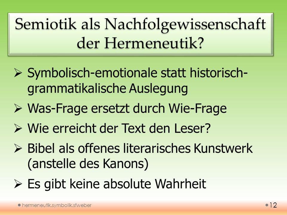 Semiotik als Nachfolgewissenschaft der Hermeneutik