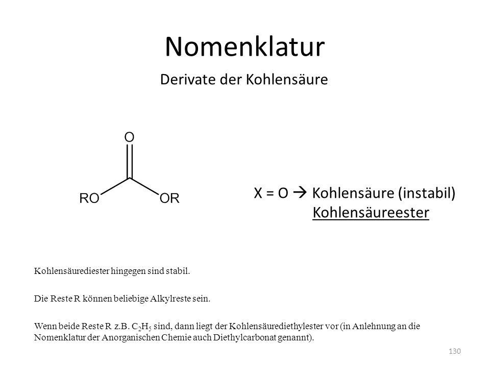 Nomenklatur Derivate der Kohlensäure X = O  Kohlensäure (instabil)