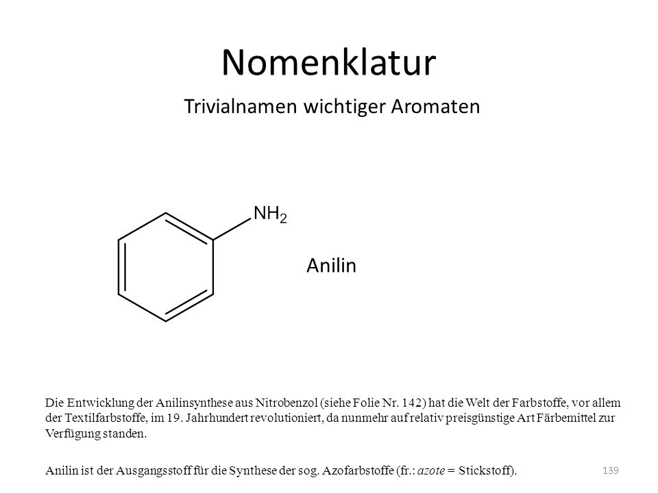 Nomenklatur Trivialnamen wichtiger Aromaten Anilin