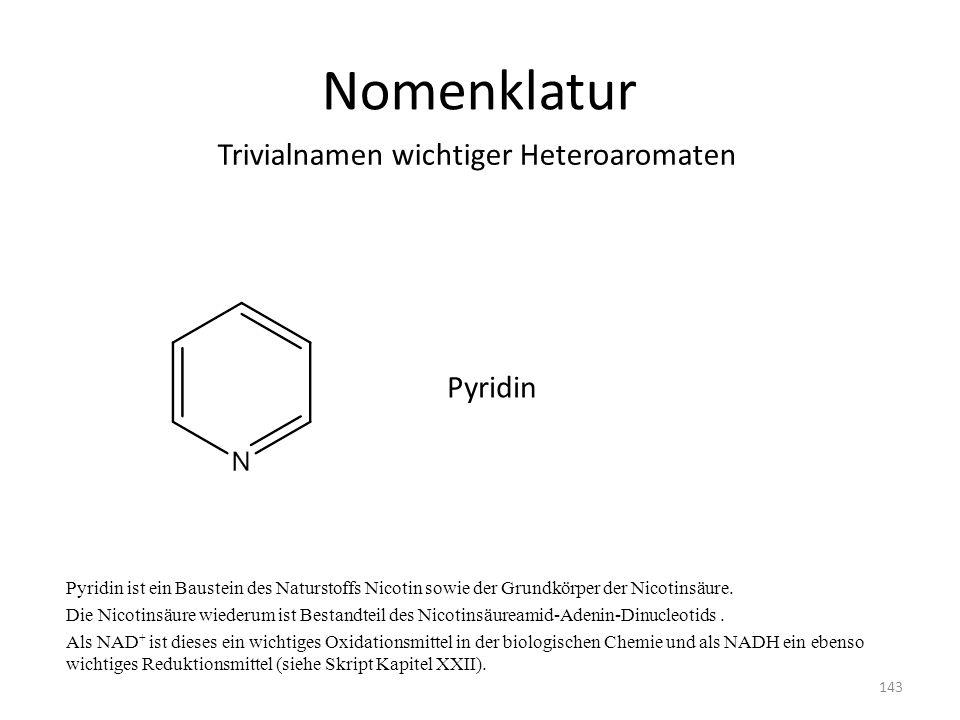 Nomenklatur Trivialnamen wichtiger Heteroaromaten Pyridin