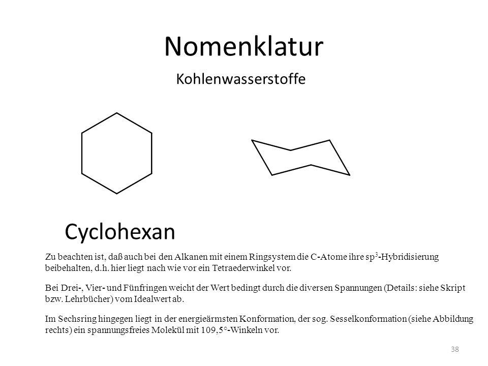 Nomenklatur Cyclohexan Kohlenwasserstoffe