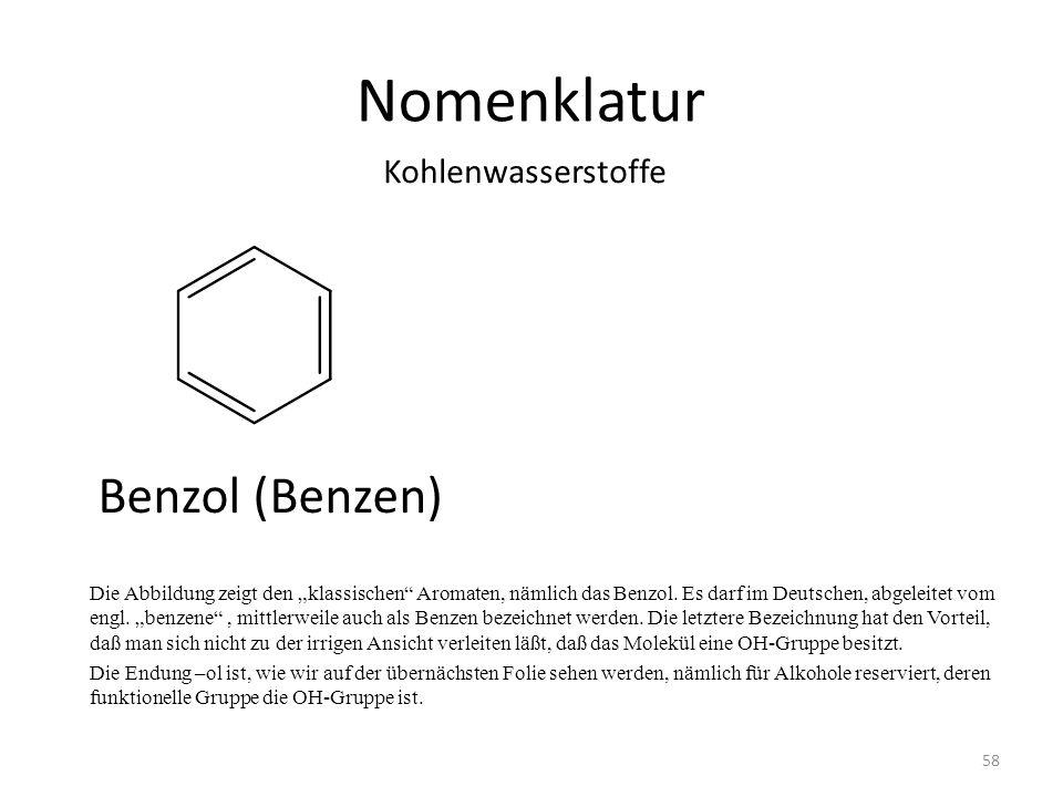 Nomenklatur Benzol (Benzen) Kohlenwasserstoffe
