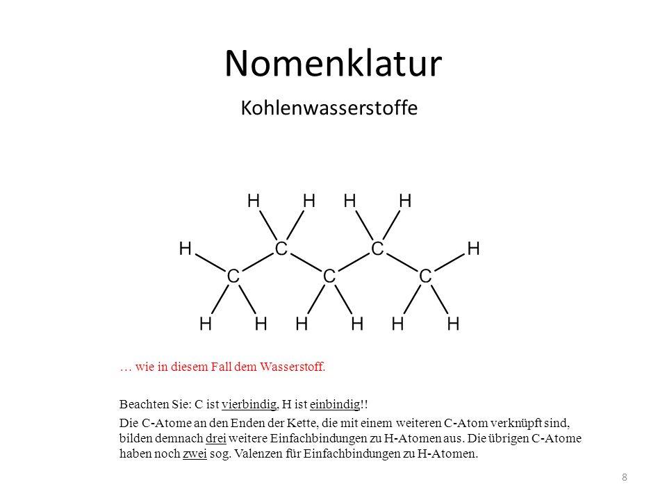 Nomenklatur Kohlenwasserstoffe … wie in diesem Fall dem Wasserstoff.